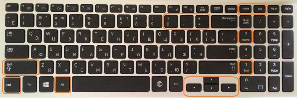 клава и  отметки некоторых горячих клавиш