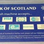 Карты, принимаемые банкоматом Банка Шотландии (Bank of Scotland)